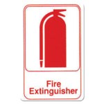 "Winco SGN-682W Fire Extinguisher Sign - 6"" x 9"", White"