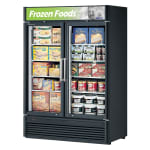 "Turbo Air TGF-47SD-N 51.13"" Two-Section Display Freezer w/ Swinging Doors - Bottom Mount Compressor, Black, 115v"