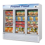 "Turbo Air TGF-72F-N 81.88"" Three-Section Display Freezer w/ Swinging Doors - Bottom Mount Compressor, 115v"