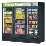 "Turbo Air TGF-72SD-N 78"" Three-Section Display Freezer w/ Swinging Doors - Bottom Mount Compressor, Black, 115v"