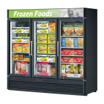 "Turbo Air TGF-72SD-N 78"" Three-Section Display Freezer w/ Swinging Doors - Bottom Mount Compressor, 115v"