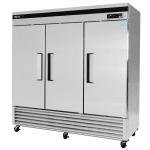 """Turbo Air TSR-72SD 81"""" Three Section Reach-In Refrigerator, (3) Solid Door, 115v"""
