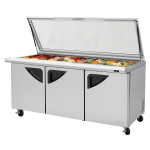 "Turbo Air TST-72SD-30-N-GL 72.63"" Sandwich/Salad Prep Table w/ Refrigerated Base, 115v"