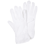 San Jamar 5312WH-M Cotton PVC Waiter's Gloves, Palm Dotted, Medium, White