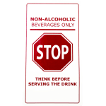 "San Jamar BM1018 Non-Slip Bar Mat - ""Non-Alcoholic Beverages Only"", Rubber, White/Red"