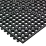 "San Jamar KM1140B Rubber Bar Mat, Anti-Slip & Grease Resistant, 36 x 36 x .5"", Black"