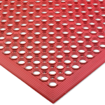 "San Jamar KM1200 Kitchen Mat, Anti-Slip, Grease Proof, 36 x 60"", Bagged, Red"