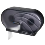 "San Jamar R4090TBK Twin 9"" Jumbo Toilet Tissue Dispenser, Oceans, Translucent Black Pearl"