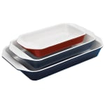 World Cuisine A1735334 Enameled Cast Iron Baking Dish, 3-qt, Rectangular, Red