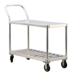 New Age 1416 2 Level Aluminum Utility Cart w/ 800 lb Capacity, Flat Ledges