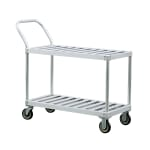 New Age 1420 2 Level Aluminum Utility Cart w/ 1000 lb Capacity, Flat Ledges