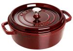 Staub 1112687 Wide Round Shallow Cocotte w/ 4-qt Capacity & Enamel Coated Cast Iron, Grenadine