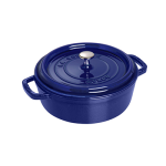 Staub 1112891 Shallow Round Cocotte w/ 6-qt Capacity & Enamel Coated Cast Iron, Dark Blue