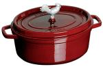 Staub 1123187 Coq Au Vin Cocotte w/ 5.75-qt, Rooster Knob & Enamel Coated Cast Iron, Grenadine
