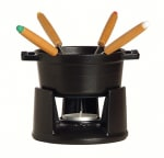 Staub 1400423 Mini Chocolate Fondue Set w/ .25-qt Capacity, 4-Forks, Enameled Cast Iron, Black
