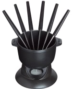 Staub 1400618 .75-qt Fondue Set w/ Pot, Stand, 6-Forks, Candle & Enameled Cast Iron, Graphite