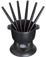 Staub 1400623 .75-qt Fondue Set w/ Pot, Stand, 6-Forks, Candle & Enameled Cast Iron, Black