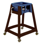 "Koala Kare KB866-04W 27"" High Chair/Infant Seat Cradle w/ Waist Strap & Casters - Plastic, Brown/Blue"
