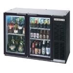 "Beverage Air BB48GY-1-B-27 48"" (2) Section Bar Refrigerator - Swinging Glass Doors, 115v"