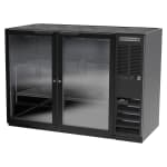 "Beverage Air BB48HC-1-G-B 48"" (2) Section Bar Refrigerator - Swinging Glass Doors, 115v"