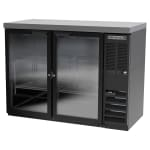 "Beverage Air BB48HC-1-G-B-27 48"" (2) Section Bar Refrigerator - Swinging Glass Door, 115v"