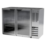 "Beverage Air BB48HC-1-G-S 48"" (2) Section Bar Refrigerator - Swinging Glass Doors, 115v"