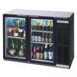 "Beverage Air BB68HC-1-G-B 69"" (2) Section Bar Refrigerator - Swinging Glass Doors, 115v"