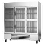 """Beverage Air HBR72HC-1-HG 75"""" Three Section Reach-In Refrigerator w/ (6) Glass Doors, 115v"""