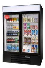"Beverage Air LV49-1-B-LED 52"" Two-Section Glass Door Merchandiser w/ Swing Doors, 115v"
