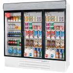"Beverage Air LV72Y-1-W-LED 75"" Three-Section Glass Door Merchandiser w/ Swing Doors, 115v"