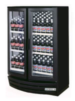 Beverage Air MM14YBWLED Curved Front LED Merchandiser w/ 2-Glass Doors, Black Exterior, White Interior