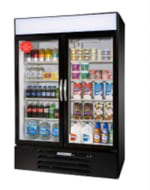 "Beverage Air MMR44-1-B-LED 47"" Two-Section Glass Door Merchandiser w/ Swing Doors, 115v"