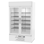 "Beverage Air MMR44HC-1-W 47"" Two-Section Glass Door Merchandiser w/ Swing Door, White, 115v"
