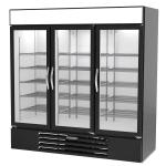 """Beverage Air MMR72HC-1-B 75"""" Three-Section Glass Door Merchandiser w/ Swing Door, 115v"""