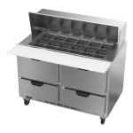 """Beverage Air SPED48HC-18M-4 48"""" Sandwich/Salad Prep Table w/ Refrigerated Base, 115v"""