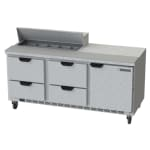 """Beverage Air SPED72HC-10-4 72"""" Sandwich/Salad Prep Table w/ Refrigerated Base, 115v"""