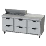"""Beverage Air SPED72HC-10-6 72"""" Sandwich/Salad Prep Table w/ Refrigerated Base, 115v"""