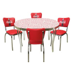 Vitro COKEDINERSET Diner Set, Red Glacier Boomerang Table, 4 Chairs