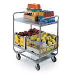 Lakeside 243 2-Level Stainless Utility Cart w/ 500-lb Capacity, Flat Ledges
