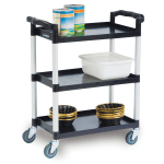 Lakeside 2500 3 Shelf Utility Cart w/ Push Handles, 300 lb Capacity, Black