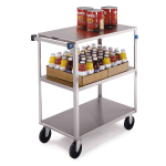 Lakeside 351 3 Shelf Open Tray Truck w/ Push Handle, 500 lb Capacity, Stainless
