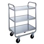 Lakeside 473 3-Level Stainless Utility Cart w/ 500-lb Capacity, Flat Ledges