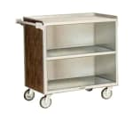 "Lakeside 644 WAL 39.25""L Metal Bus Cart w/ (3) Levels, Shelves, Walnut"