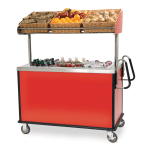 "Lakeside 668 Food Cart for Breakfast w/ Overshelf, 54.75""L x 28.5""W x 67""H, Stainless"