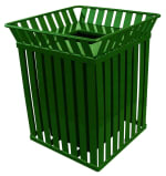Witt M3601-SQ-FT-GN 36-Gallon Outdoor Square Trash Can w/ Anchor Kit, Green