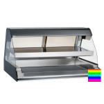 """Alto Shaam ED2-48/2S-C 2081 48"""" Self-Service Countertop Heated Display Case w/ Curved Glass - (2) Levels, 208-240v/1ph"""