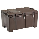 "Cambro 100MPCHL131 Camcarrier® Insulated Food Pan Carrier - Hinged Lid, 18x26.75x15"" Dark Brown"
