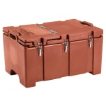 "Cambro 100MPCHL402 Camcarrier® Insulated Food Pan Carrier - Hinged Lid, 18x26.75x15"" Brick Red"