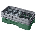 Cambro 10HS434119 Camrack Glass Rack - (2)Extenders, 10 Compartments, Sherwood Green