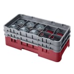 Cambro 10HS434416 Camrack Glass Rack - (2)Extenders, 10 Compartments, Cranberry